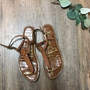 Sam Edelman Gigi Brown Leather Thong Sandals